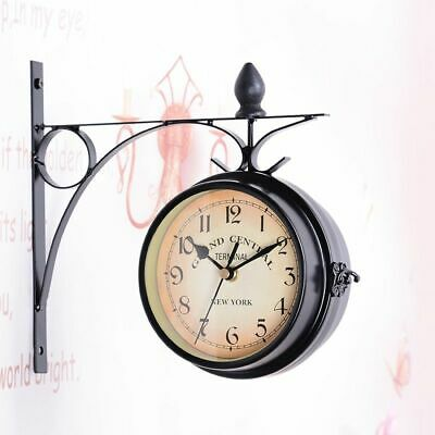 Antique Wall Mount Double Sided Station Clock Garden Vintage Retro Home Decor