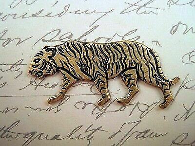 Oxidized Solid Brass Plated Tiger Stamping (1) - BOS3860  Jewelry Finding