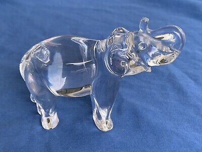 Baccarat Crystal Elephant France French Collectible Glass SIGNED Trunk Up