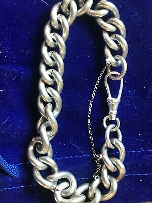 solid silver Albert chain Thick Chunky Bracelet Very Heavy 60g!