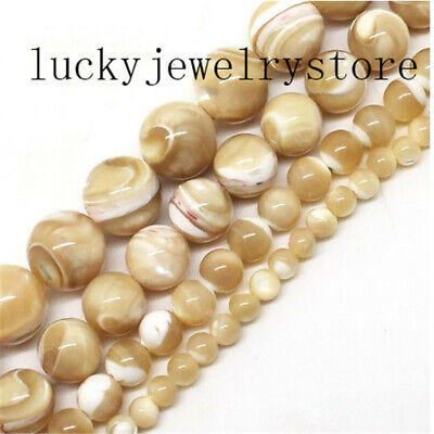 """Natural Trochus Shell Stone 4/6/8/10mm Round Ball Loose Bead 15.5"""" DW39"""