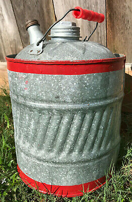 Vintage Metal Galvanized 2 Gallon Gas Oil Kerosene RED STRIPE Can Plastic Handle
