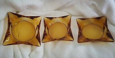 Yellow Amber Glass Table Ashtray Square Mid Century Modern Vintage (Lot of 3)
