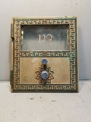 """Vintage Large Brass Post Office Box Door -  Size 6"""" x 5 1/2"""" , 1965 American"""