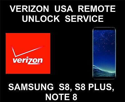 Verizon USA Network Remote Unlock Service, Samsung S8, S8 Plus, Note 8
