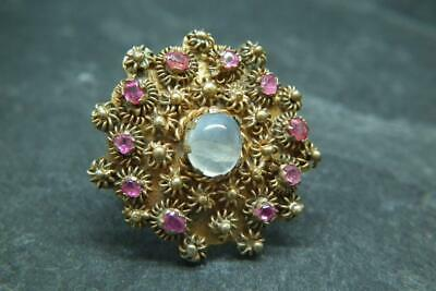 Lovely Antique Victorian Anglo Indian Gilt Metal Moonstone & Ruby Ring