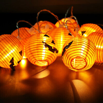 10 LED Pumpkin String Fairy Lights Lantern Party Home Props Halloween Decoration