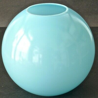 Antique Opaque Blue Ball SHADE GWTWBanquet Piano ParlorOil Lamp Excellent