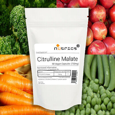 Nutrics® 100% Pure CITRULLINE MALATE 750mg Vegan Capsules 2:1 Pre Workout