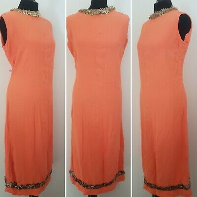 Ladies VINTAGE 60s Shift Dress Sz 14/16 WITH FAULTS Orange Mod Long Midi