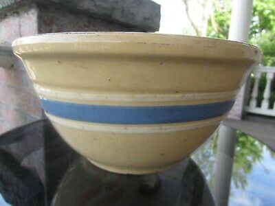 "Antique Primitive Farm Rustic STONEWARE Yellow ware Blue Banded 9"" Mixing Bowl"
