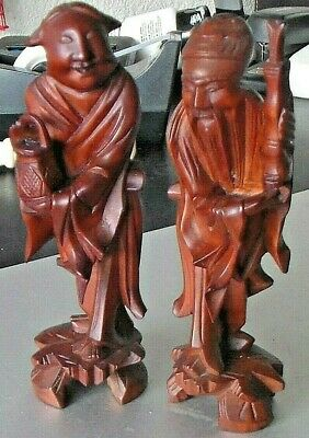 Beautiful Pair of Boxwood Carved Chinese Figures, Vintage ~ Antique