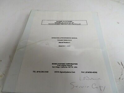 Sigma Systems models C4 & CC3.5 programmable temperature controller manual NC66*