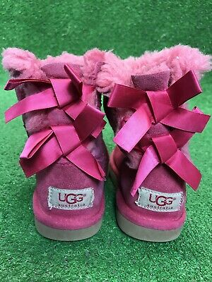 c9b36f5d75f UGG BAILEY BOW Boots Cerise Pink Size 11 Girl Kid Used - $59.00 ...
