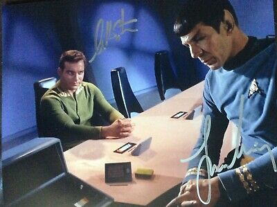 Leonard Nimoy William Shatner beautiful 8 x 10 signed photo Star Trek Wow