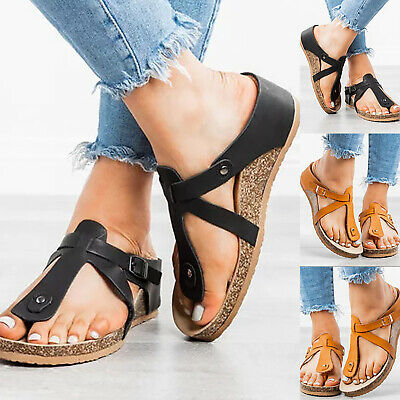 Ladies Cork Footbed Sandals Flip Flops Holiday Casual Toe Post Slippers Shoes