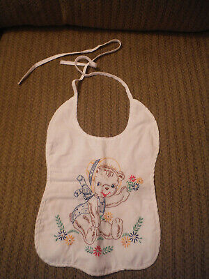 """Vintage Embroidered Bear Baby Bib - 14"""" total height excl ties"""