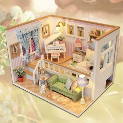 3D Wooden Craft Doll House Furniture DIY Miniature Dust Cover Dollhouse Toy PRO#