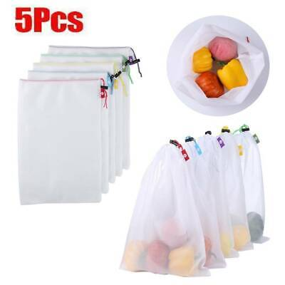 5pcs Reusable Grocery Bags Produce Bag Eco Friendly Shopping Mesh Bags Set