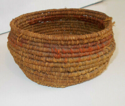 Lovely Small Primative Antique Southwestern Coil Basket Faded Red Design