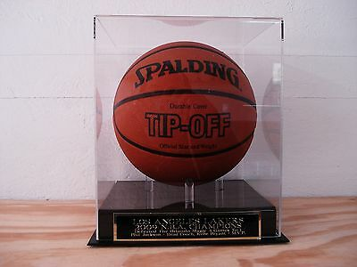 Basketball Display Case With A Los Angeles Lakers 2009 Champs Nameplate