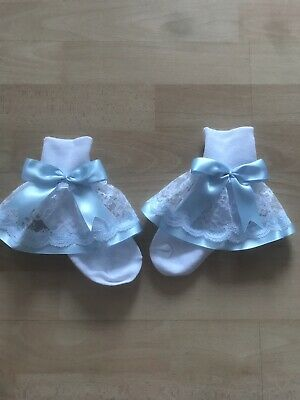 Girls White Frilly Socks With Baby Blue Bow Size 6-8.5