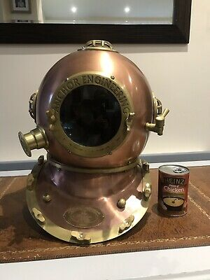 Reproduction Anchor Engineering Diving Helmet Karl Heinke 1921 Copper Decorative
