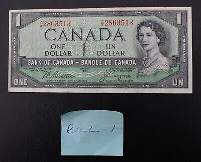 1954 Canada $1 Note; One Dollar Bill Z/A2863513; Circulated