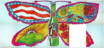 1969 21x10' 7Up UnCola Butterfly Bottle Billboard Poster Pat Dypold soda sign ad