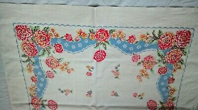 Vintage Cotton Tablecloth Red/Yellow/Blue Flowers 45X41 inches vibrant