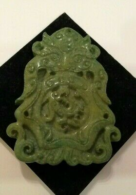 Antique Chinese Asian Green hard stone hand carved traditional pendant 88 gm