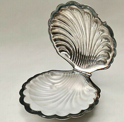 Vintage French Silver Colour Stamped Clam Shell Butter Dish With Glass Insert