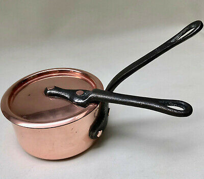 Vintage French Small Copper Saucepan With Matching Lid & Cast Iron Handle,