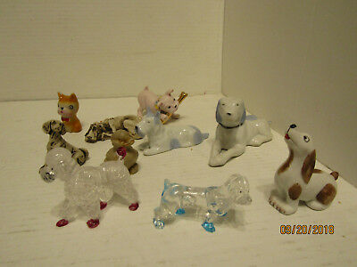 Junk Drawer Lot Of Collectible Dog Statues And 1 Duck Statue Pink Dog Missing A