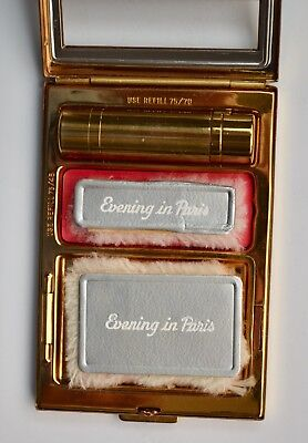 VINTAGE 1940s NEW UNUSED EVENING IN PARIS Bourjois Compact~POWDER~ROUGE~LIPSTICK