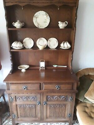 Welsh Dresser, Vintage Antique Old Charm Dresser, Old Carved Oak Furniture
