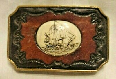 Vintage BTS Whaling Ship Scrimshaw Belt Buckle Bone Brass Leather Made in USA