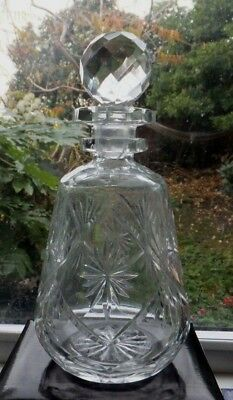 Antique Decanter Lead Crystal Cut Glass Round Original Crystal   Faceted Stopper