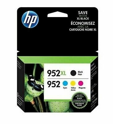 HP Genuine 952XL Black & 952 Color Ink Combo OEMS Pack of 4 Exp 2020+
