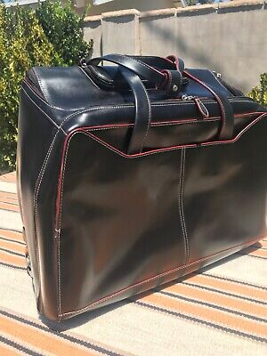 Lodis black leather wheeled rolling travel bag briefcase luggage Great condition