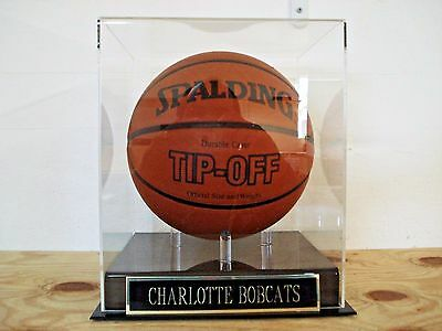 Basketball Display Case With A Charlotte Bobcats Engraved Nameplate