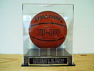 Basketball Display Case With A Texas Longhorns Engraved Nameplate