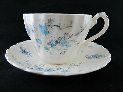 """Myott Staffordshire Ware """"Forget Me Not"""" Blue Flowers CUP & SAUCER Vintage"""