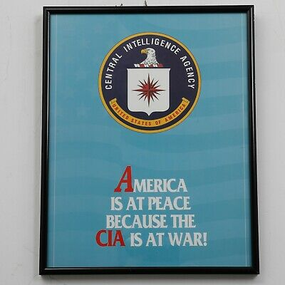 "1980s CIA Propaganda Poster United States Government Military Framed 11.5""x14.5"""