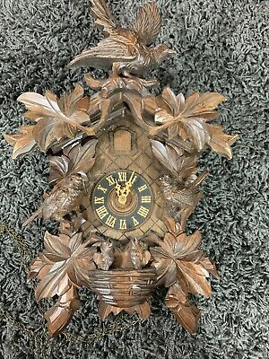 Vintage Ornate Wooden Carved Cuckoo Clock Birds No Weights