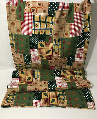 Liz Claiborne Fall Tablecloth Vintage 2001 Farmhouse Patchwork Green Red Tan