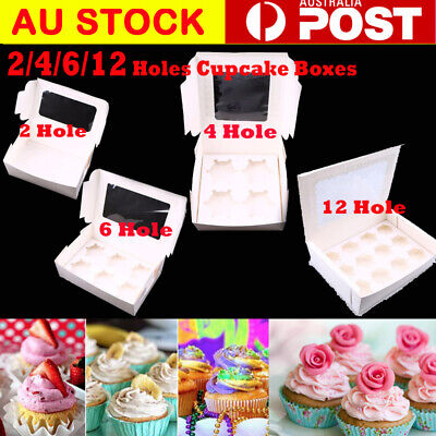 Cupcake Box Range 2 hole 4 hole 6 hole 12 hole Window Face Cases Party
