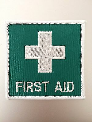 First Aid Patch — Iron Sew On — Embroidered Badge — Medical Green