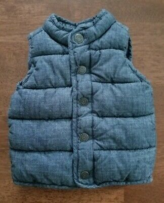 Old Navy Baby Boys Puffer Vest Sz 12-18 Months Blue Cotton Chambray Fleece Lined