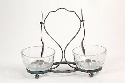 Estate Silverplate Glass Double Jam Jelly Honey Condiment Pot Stand English EPNS